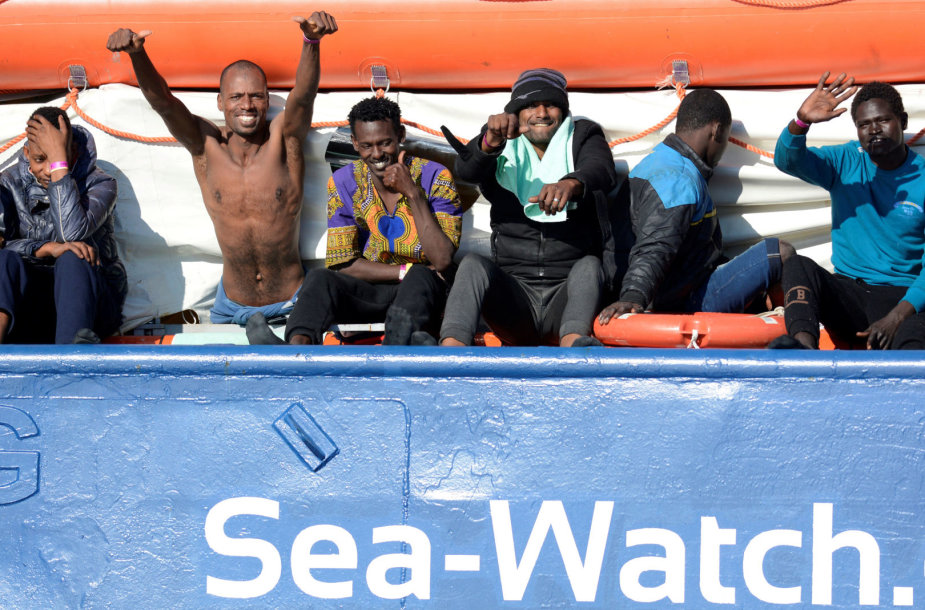 "Migrantai organizacijos ""Sea Watch"" laive"