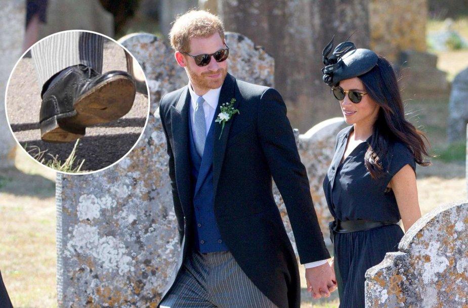 Princas Harry į draugo vestuves atėjo prakiurusiais batais