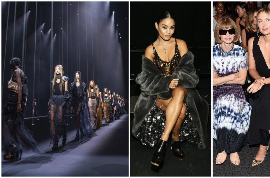 Veros Wang kolekcijos modeliai (kairėje) ir viešnios: Vanessa Hudgens, Anna Wintour ir Maria Sharapova