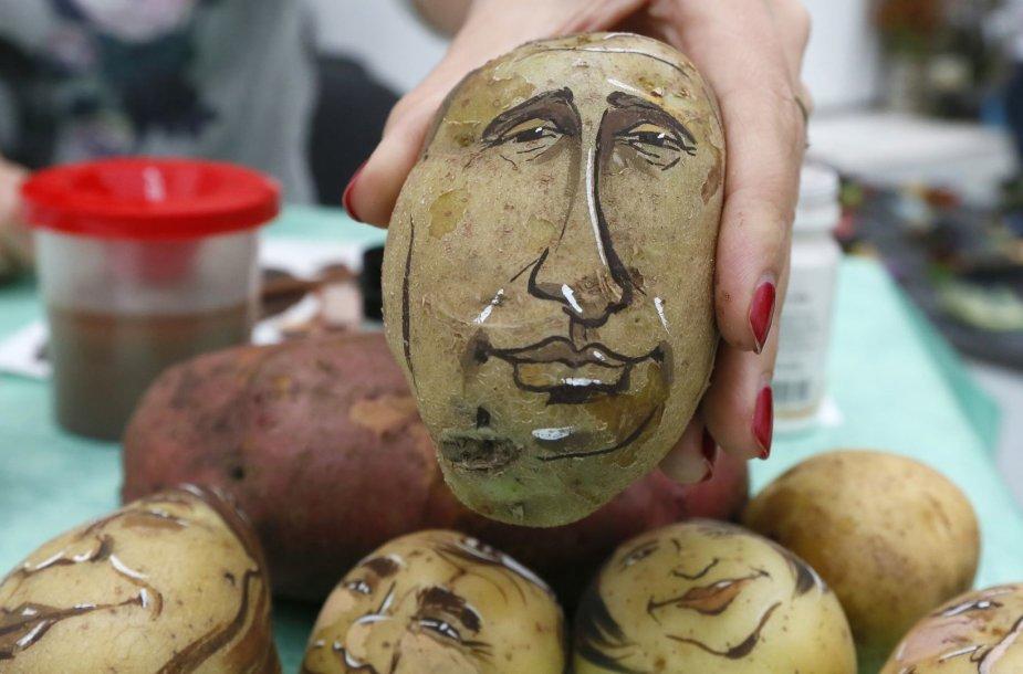 Ant bulvės nupieštas Vladimiro Putino šaržas