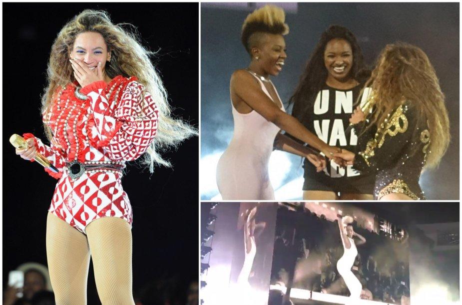 Beyonce ant scenos pakvietė dvi gerbėjas ir pati liko be žado pamačiusi, kaip jos šoka