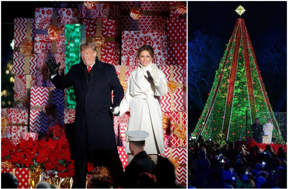 Donaldas Trumpas ir Melania Trump įžiebėJAV nacionalinę Kalėdų eglę
