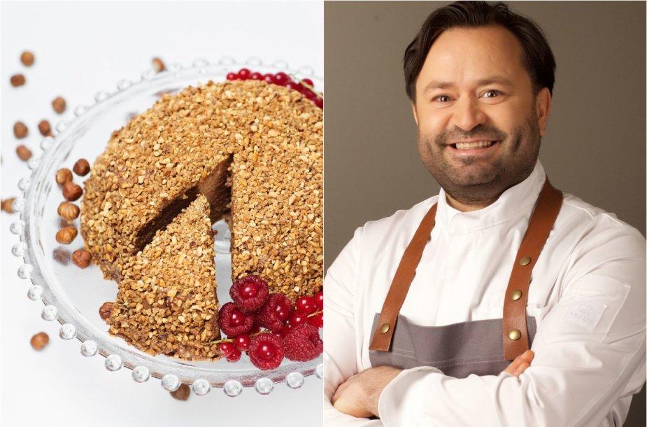 Šefas Ruslanas Bolgovas ir jo gamintas blynų tortas