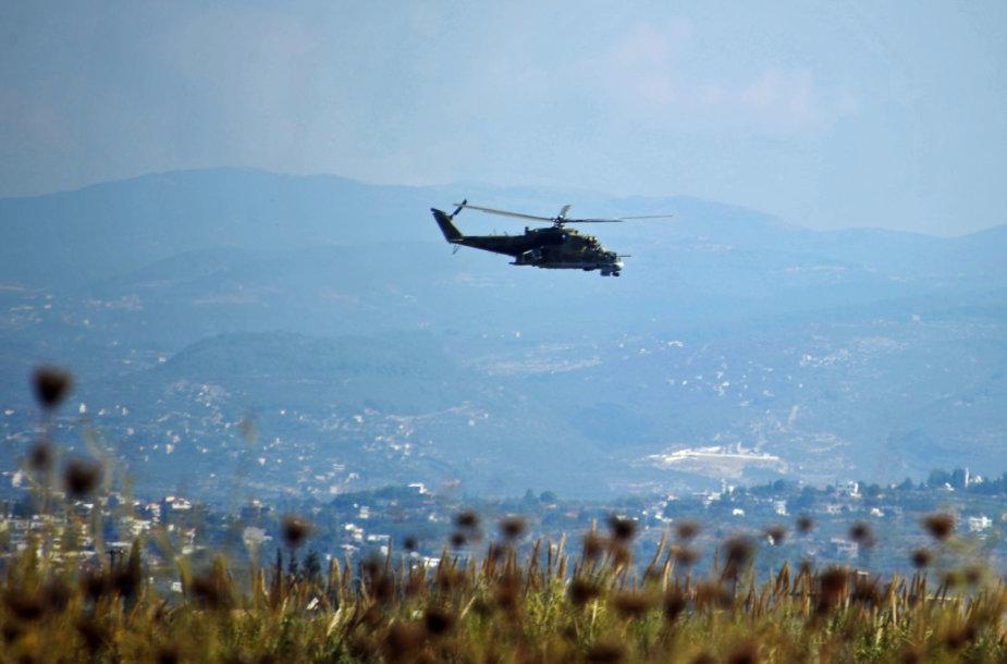 Rusijos sraigtasparnis Mi-24 Sirijoje