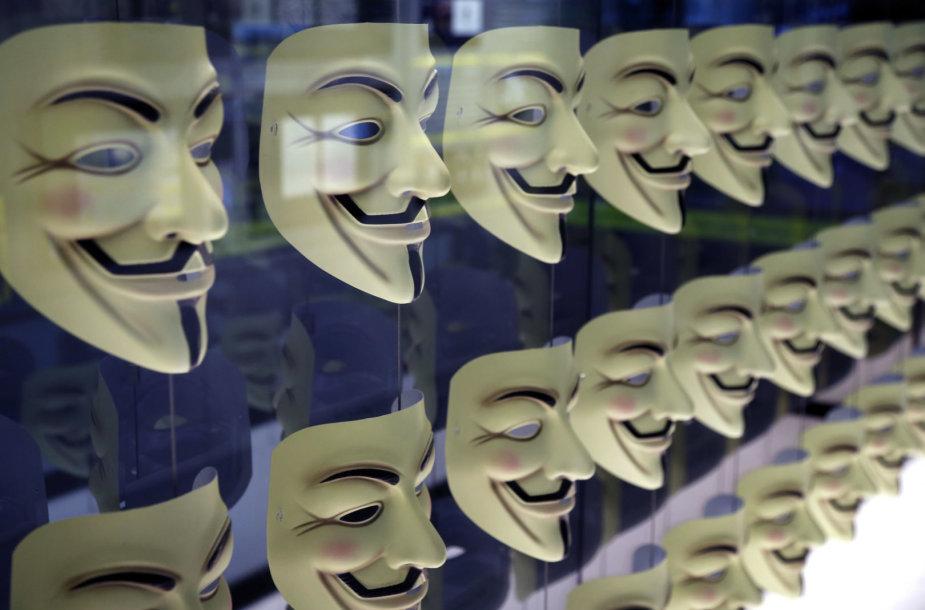 Guy'aus Fawkeso kaukė – dažnas programišių, slepiančių savo tapatybę, simbolis