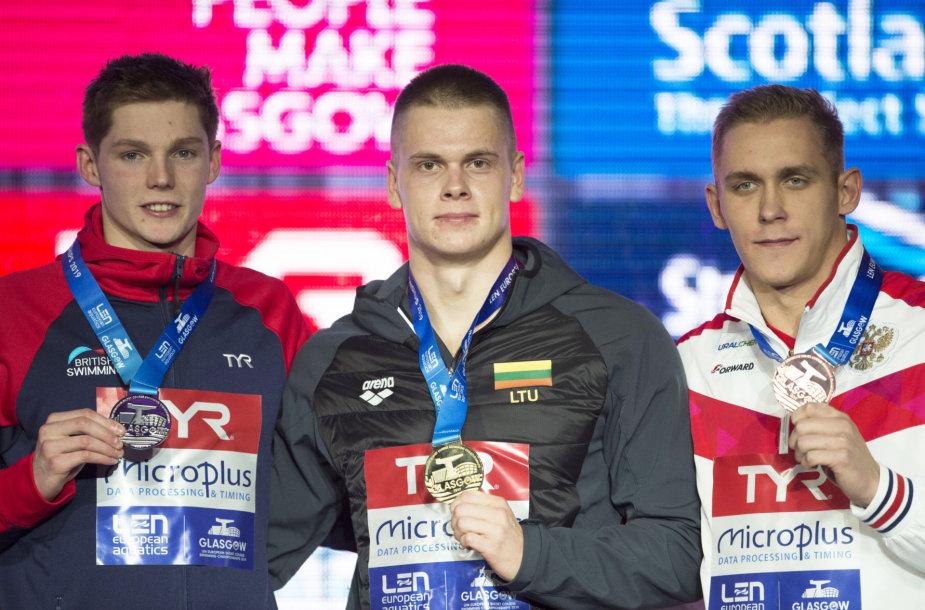 Danas Rapšys iškovojo auksą 200 m laisvuoju stiliumi. Antras buvo Duncanas Scottas (kairėje), trečias – rusas Michailas Vekoviščevas.