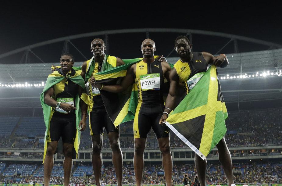 Iš kairės: Yohanas Blake'as, Usainas Boltas, Asafa Powellas ir Nickelis Ashameade'as
