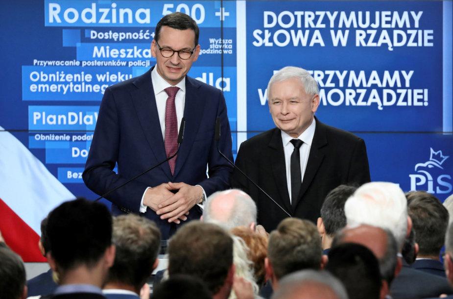 Mateuszas Morawieckis ir Jaroslawas Kaczynskis