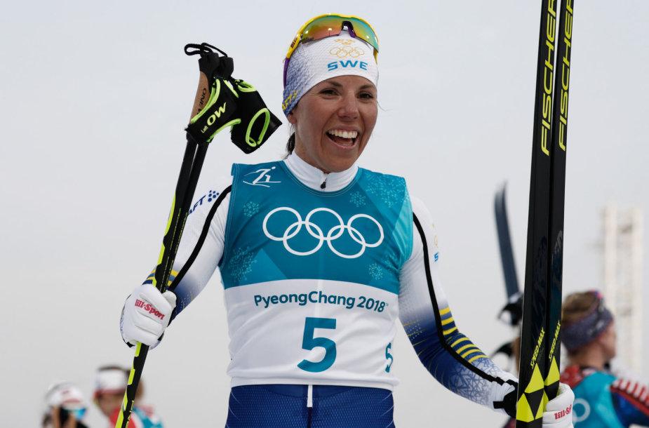 Charlotte Kalla iškovojo olimpinį auksą skeletono rungtyje.