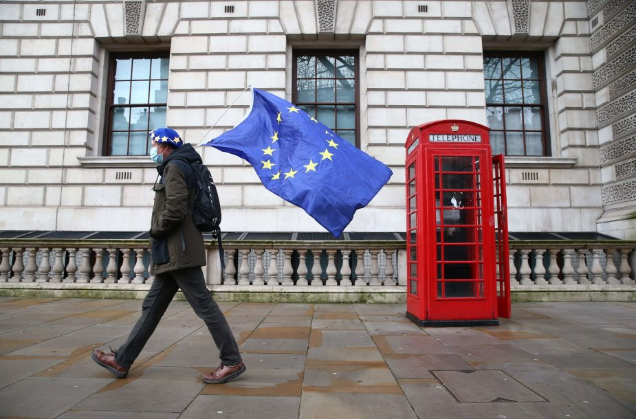"""Protestuotojas prieš """"Brexit"""" Londone"""