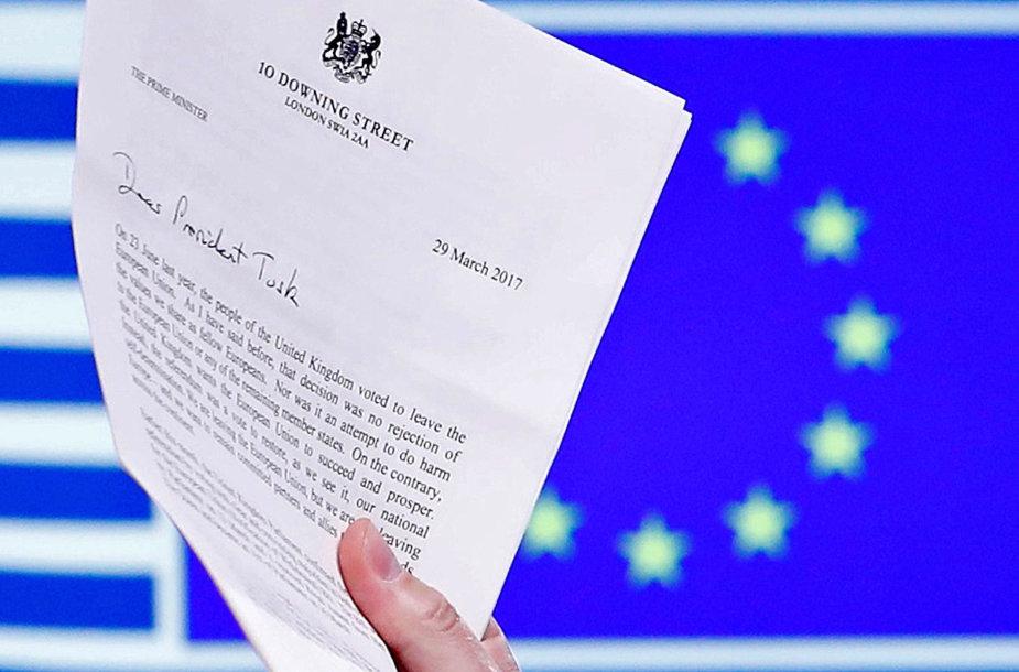 Britų laiškas D.Tuskui, kuriuo buvo aktyvuotas JK išstojimo iš ES procesas