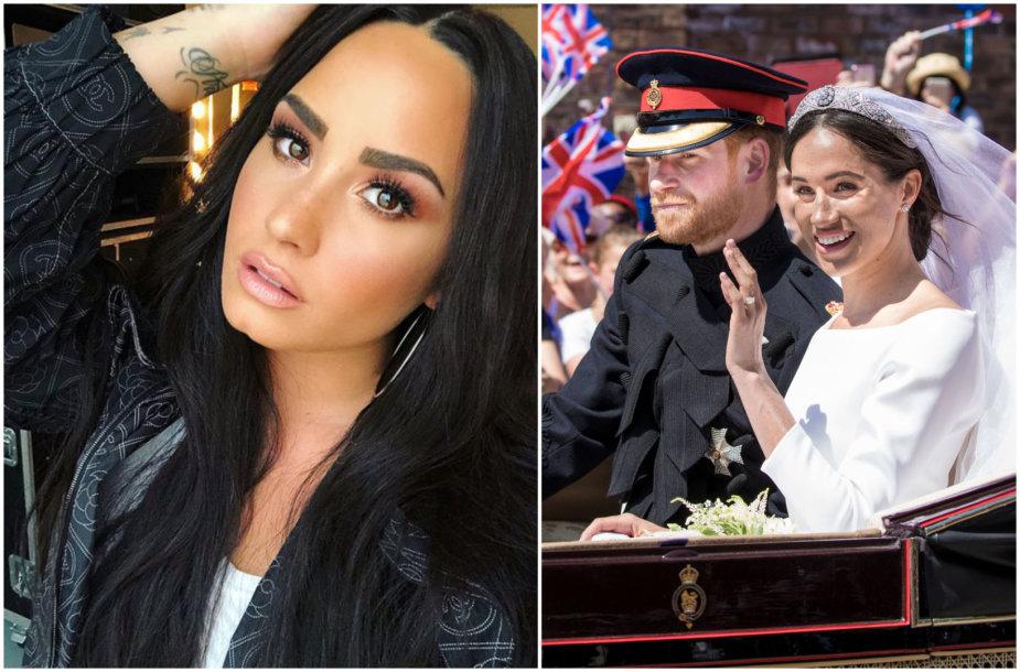 Demi Lovato ir princas Harry su Meghan Markle per karališkąsias vestuves