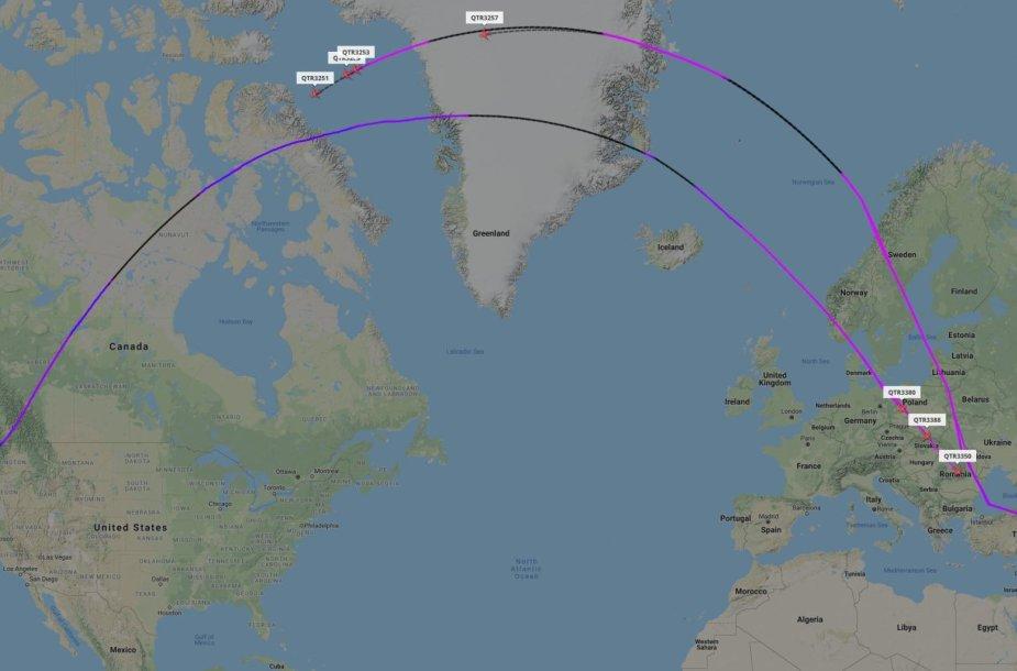 """Septyni """"Qatar Airways"""" lėktuvų skrydžiai"""
