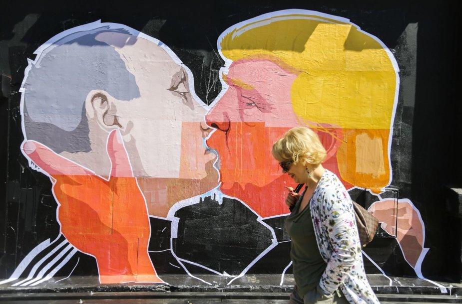 Grafitis su Donaldo Trumpo ir Vladimiro Putino bučiniu
