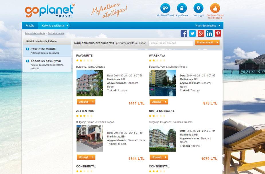 """Taip pirmadienį atrodo """"Go Planet Travel"""" interneto puslapis"""