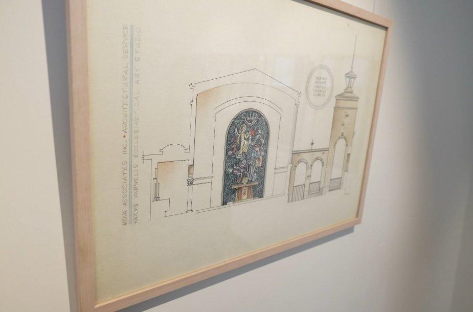 Pirmoji virtualiai atidaroma paroda – Kazio Varnelio bažnyčių interjerų piešinių