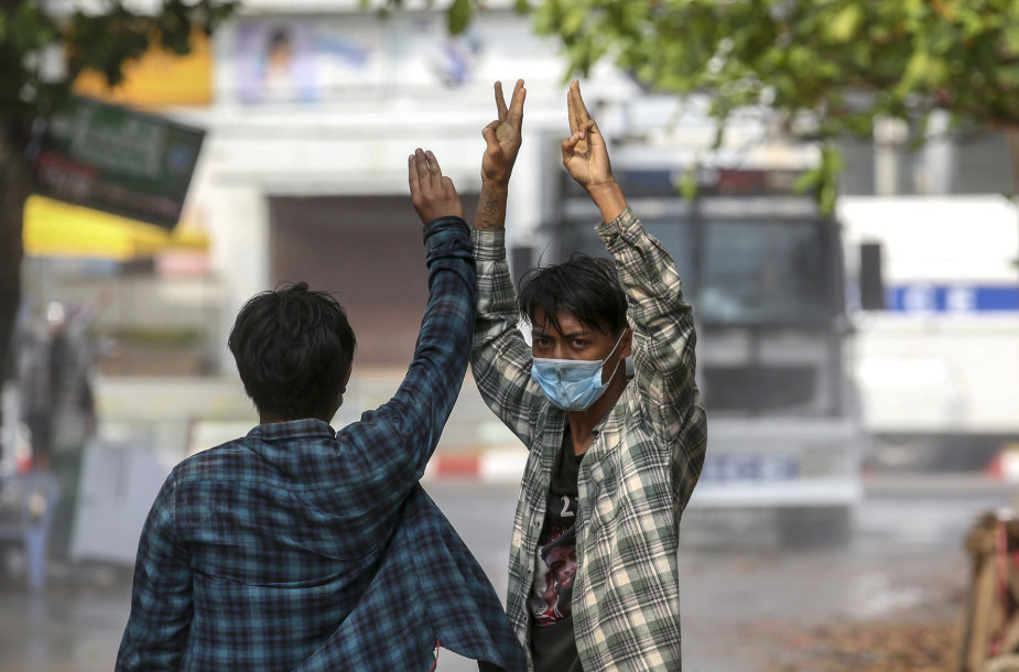 Protestuotojai Mianmare