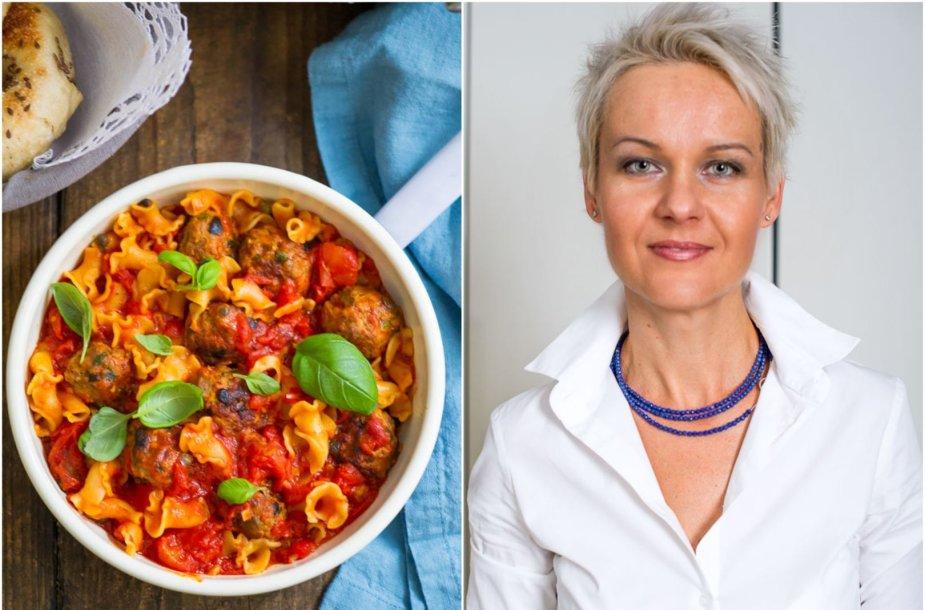 Nida Degutienė ir jos gaminti sicilietiški vištienos maltinukai pomidorų padaže