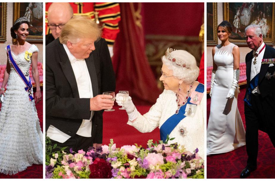 Hercogienė Catherine, karalienė Elizabeth II ir JAV prezidentas Donaldas Trumpas, Melania Trump ir princas Charlesas