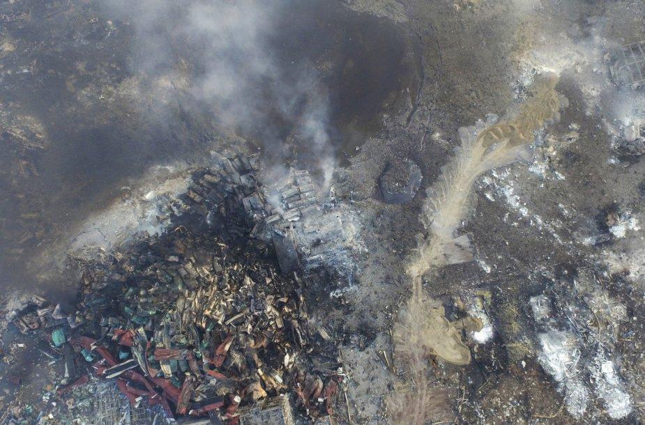 Tiandzino sprogimo padariniai iš oro