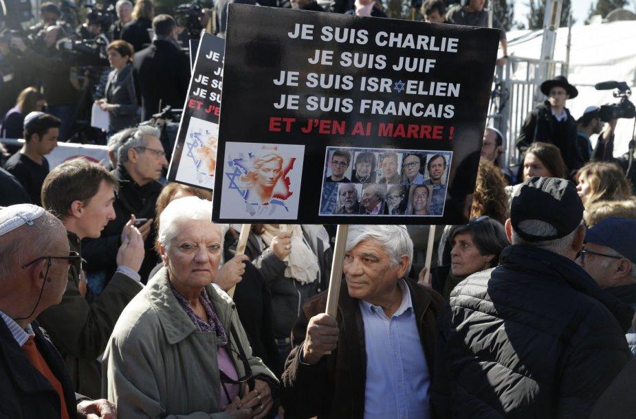 Per islamisto ataką Paryžiuje nužudytų žydų laidotuvės Jeruzalėje