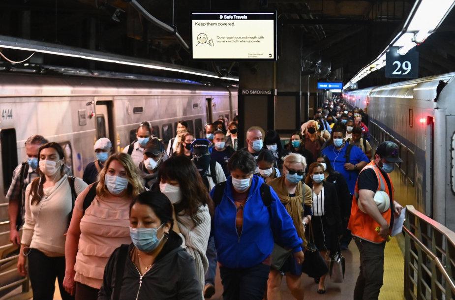 Metro keleiviai Niujorke
