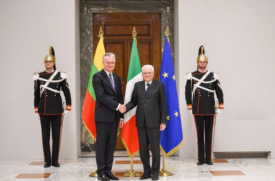 Gitanas Nausėda su Italijos vadovu Sergio Mattarella