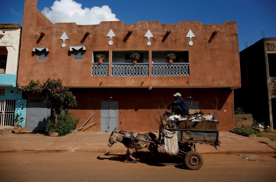 Malio miestuose atliekas surenka vežimuose įkinkytais asilais