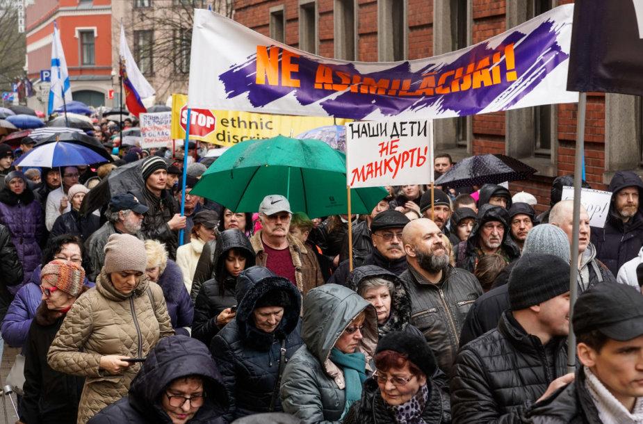 Rusakalbių protestas Rygoje
