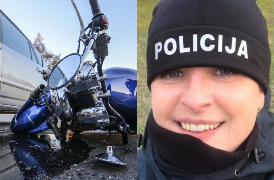 Grita Butkuvienė pirmoji atsidūrė pavojingos motociklo avarijos vietoje