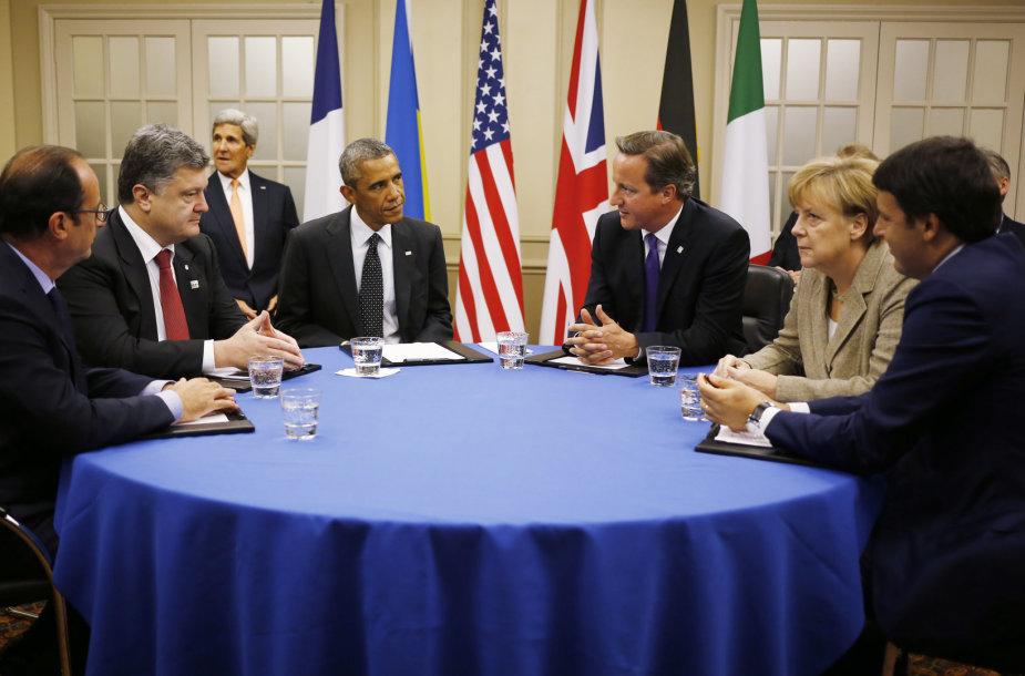 Prancūzijos, Ukrainos, JAV, Vokietijos ir Didžiosios Britanijos vadovai