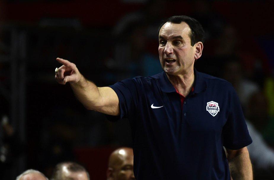 JAV krepšinio rinktinės treneris Mike'as Krzyzewski