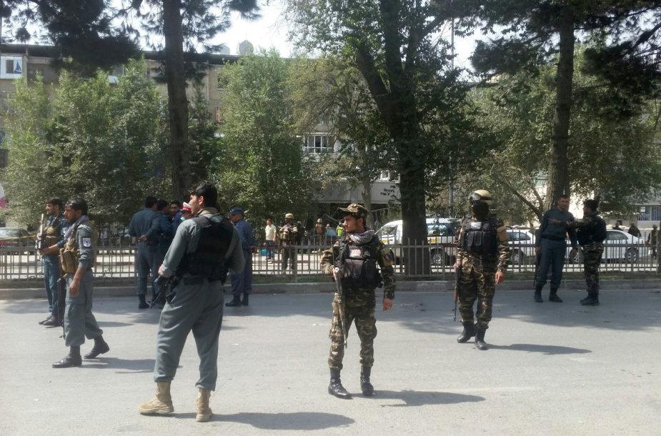 Afganistano saugumo pajėgos prie incidento vietos Kabule