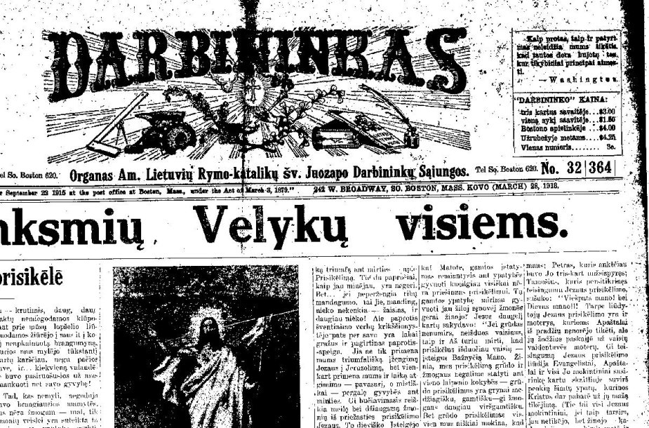 """""""Darbininko"""" pirmasis puslapis"""