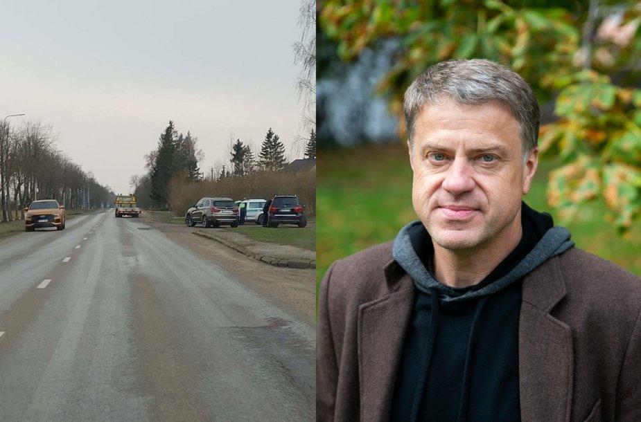 Rolandas Skaisgirys ir sustabdytas jo automobilis