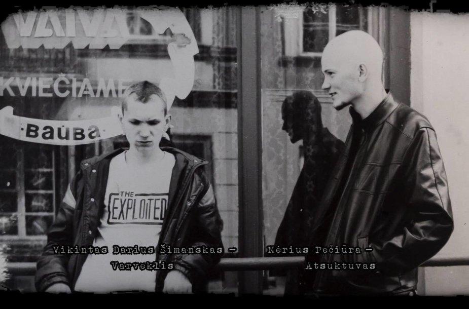 """N.Pečiūra-Atsuktuvas ir V.Šimanskas-Varveklis 1986 m. prie kavinės """"Vaiva"""" Pilies gatvėje"""