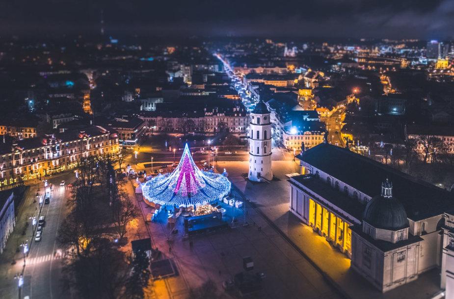 Vilniaus Kalėdų eglė iš paukščio skrydžio