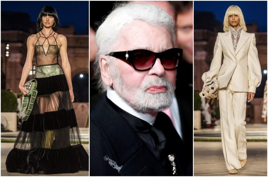 """""""Fendi"""" 2019–2020 m. rudens ir žiemos kolekcijos modeliai ir Karlas Lagerfeldas"""