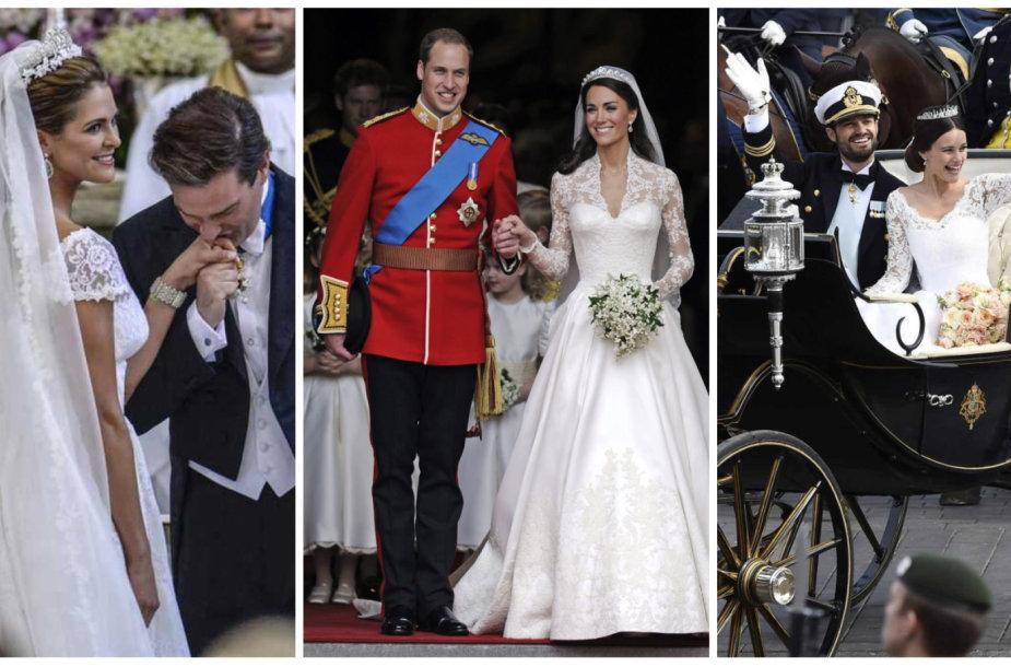Švedijos princesė Madeleine ir Christopheris O'Neillas, princas Williamas ir Kembridžo hercogienė Catherine bei Švedijos princas Carlas Philipas ir princesė Sofia