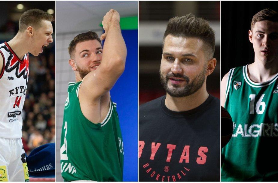 """M.Echodas (kairėje), L.Kleiza (trečias iš kairės) yra kilę iš Kauno, bet atstovauja """"Rytui"""", o vilniečiai M.Gebenas ir K.Lukošiūnas (dešinėje) žaidžia """"Žalgiryje""""."""