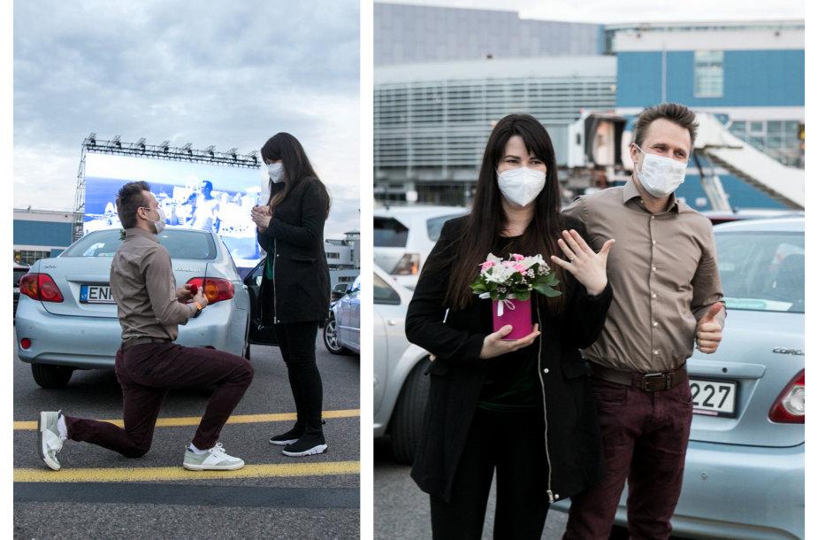 Sužadėtuvių oro uoste akimirka