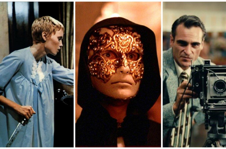 """Kadrai iš filmų """"Rosemary's baby"""", """"Eyes wide shut"""" ir """"The master"""""""
