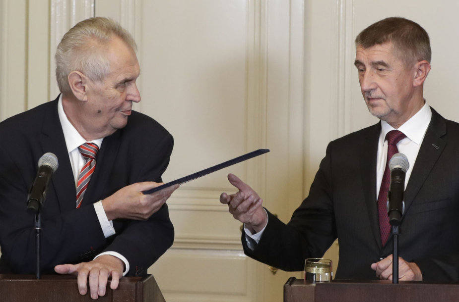 Milošas Zemanas (kairėje) ir Andrejus Babišas