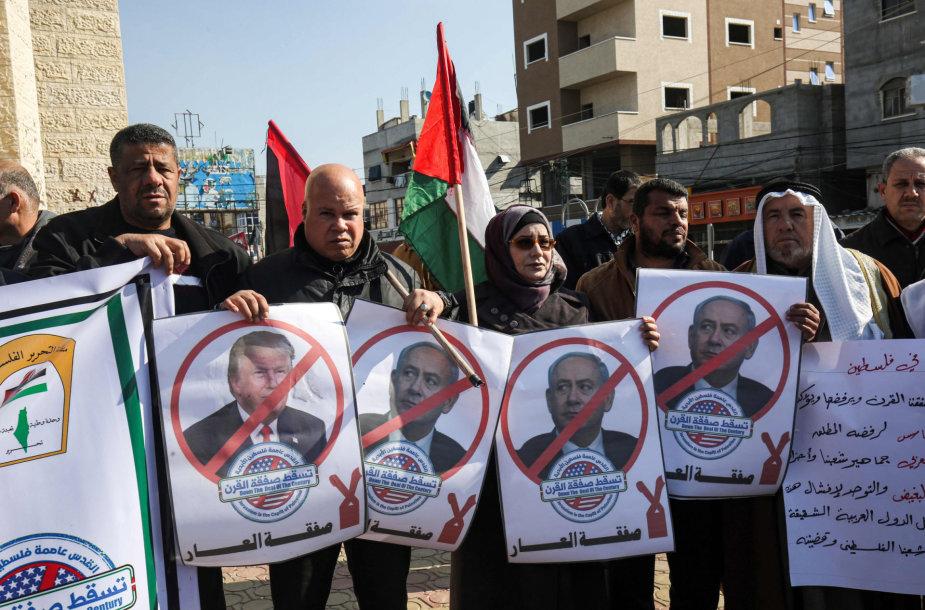 Protestuojantys palestiniečiai