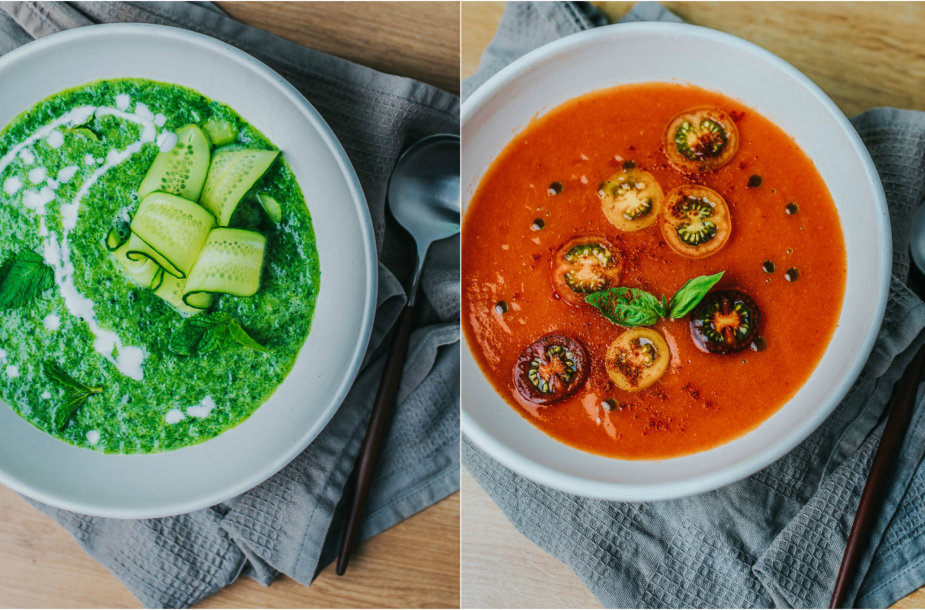 Šaltos daržovių sriubos