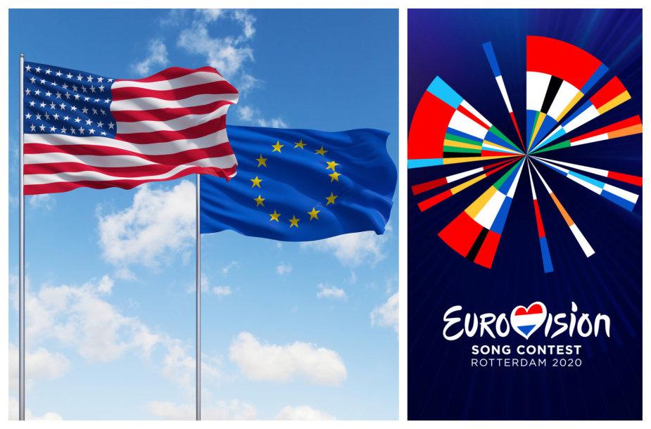 """JAV ir ES vėliavos bei """"Eurovizijos"""" logotipas"""
