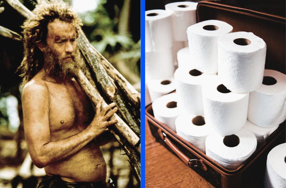 """Tomas Hanksas filme """"Prarastasis"""" ir tualetinis popierius"""