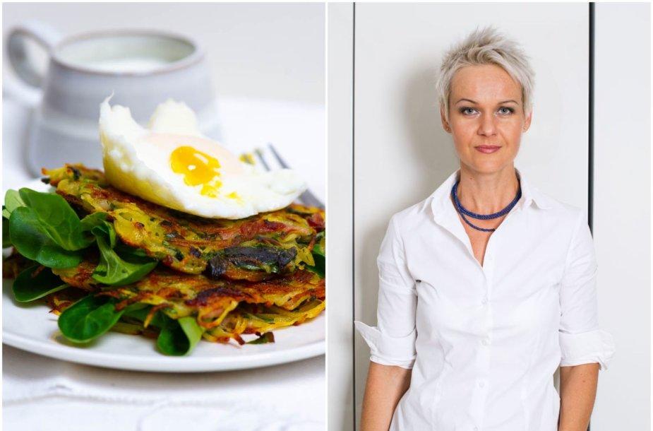 Nida Degutienė ir jos kepti traškūs bulvių skrebučiai ir be lukštų virtas kiaušinis su krienų padažu