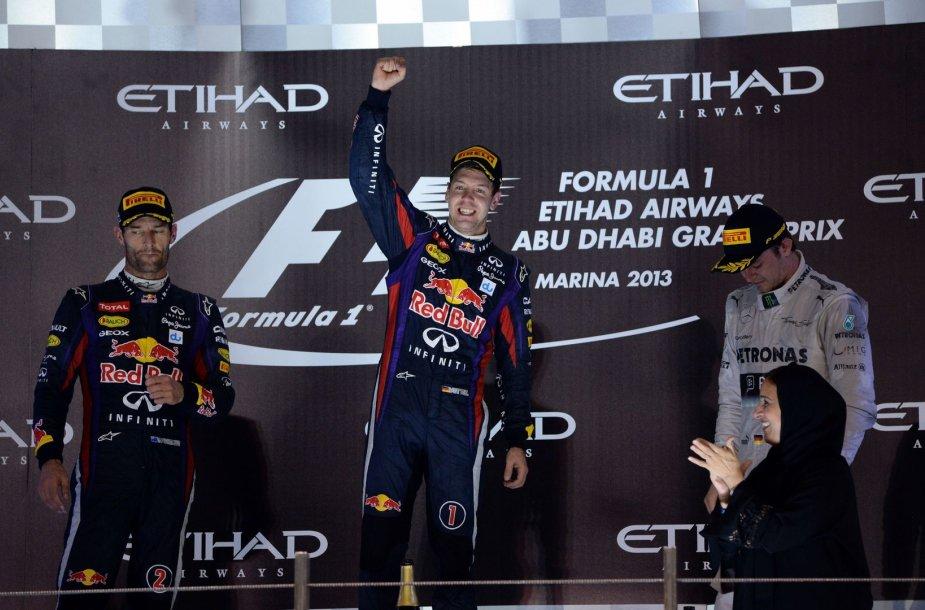 Prizininkų trejetas: Markas Webberis, Sebastianas Vettelis ir Nico Rosbergas