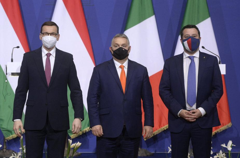 M.Morawieckis, V.Orbanas ir M.Salvini